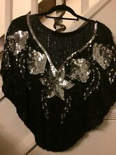 Ladies Sequin Batwing Butterfly Top 1980s Size 8-10