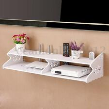 Hollow Carved 2 Tier Wall Mounted Shelf TV Box DVD Bookcase Storage Rack Holder