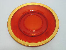 Amazing Vintage Etched Red Glass Candle Centerpiece Plate