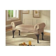 Rolled Arm Bench Upholstered Microfiber Chaise Lounge Seat Chair Furniture Beige