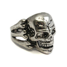 Metal Steel Skull Ring - Gothic Biker Rock Punk- Bones pirate crossbones SKR 34