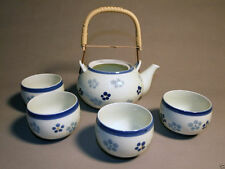 JAPANESE TEA SET - TEAPOT AND 4 CUPS WHITE WITH BLUE FLORAL PATTERN