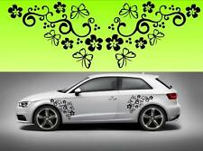 2x Butterflies and flowers car bike window STICKER DECAL VAN CAR COLOUR DUB JDM