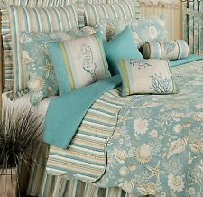Queen Quilt Tropical Beach Blue and Tan Shells Cotton