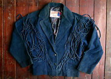 VTG SCHOTT NYC BLUE SUEDE LEATHER FRINGED WESTERN JACKET RANCH USA BIKER UK 12