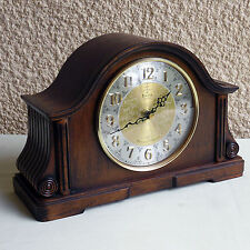 Bulova B1975 Chadbourne Old World Clock Walnut Brass Finish Mantel Shelf Clock