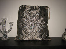 ORIGINAL SAC A BIJOUX DAMASSé SEQUINS & PERLES JEWELRY BAG SAVE THE QUEEN NEUF