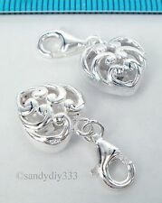1x STERLING SILVER HEART  EUROPEAN LOBSTER CLIP ON CHARM PENDANT 10mm #1805