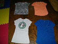 Lot of 4 Blouses T Shirts Preowned Gap Life is a Joke David Goliath XS S