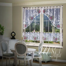 Jardiniere Cafe Net Curtain White 3 Pieces Window Set Roses Quality Ready Made