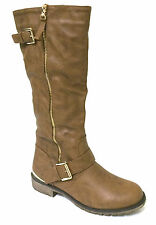 New Women's Riding Boots Faux Leather Knee High Buckle Zipper Straps Shoes Sizes