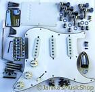 Stratocaster style guitar chrome parts pickguard machine heads bridge pickups