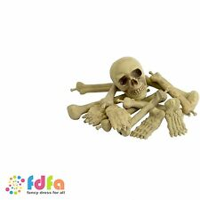 BAG OF SKELETON BONES IN BAG WITH SKULL - novelty prop - halloween fancy dress
