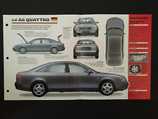 1998 AUDI A6 QUATTRO IMP Hot Cars Spec Sheet Folder Brochure RARE