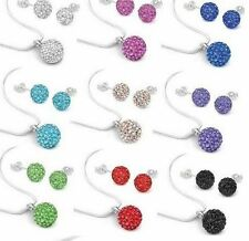 20set/lot 10mm mix clay best crystal shamballa necklace pendant earrings set