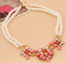 Western StyleDouble Pearl Chain Resin Crystal Flower Bib Necklace Hot Fashion Ch