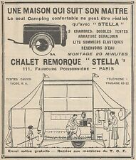 Z9206 Chalet Remorque STELLA -  Pubblicità d'epoca - 1929 Old advertising
