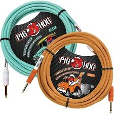 2 PIG HOG 20 FOOT ORANGE CREAM SEAFOAM GREEN GUITAR PATCH CABLE 1/4 CORD PIGHOG