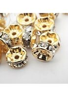 30 Pcs Gold Plated White Crystal Spacer Beads