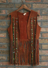VTG 60s HANDMADE SUEDE LEATHER BEADED FRINGED VEST BOHO HIPPIE MEXICAN 10/12/14