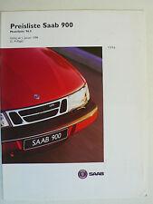 Prospectus saab 900 berline/coupé/cabriolet s/se-liste de prix 1.1996, 10 pages