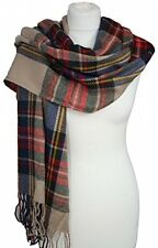 Womens Ladies Tartan Check Plaid Wool Long Large Scarf Wrap Pashmina Shawl Uk