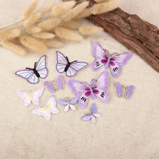 20 x Lilac Assorted Butterfly Fabric Motifs, Iron on Stick on Sew on Embroidery