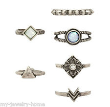 Retro Style Women 6Pcs/ Set Triangle Silver Fashion Vintage Stone Knuckle Rings