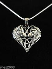 Genuine Wolf Heart 925 Sterling Silver Pendant and Black Cord by Lisa Parker