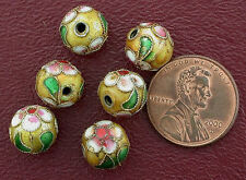 SIX 10MM FLORAL GOLD-COLOR  YELLOW  CLOISONNE BEAD