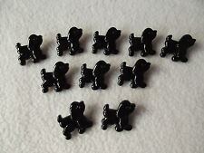 10 x BLACK DOG (Poodle) BUTTONS ~ Size 18mm x 20mm CHILDREN/CRAFT