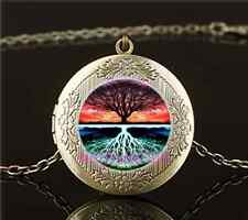 Vintage Live Tree Of Life Cabochon Glass Brass Locket Pendant Necklace#OP6