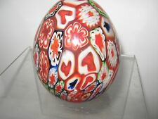 Vintage MILLEFIORI Art Glass Egg Paperweight Hearts flowers paperweight
