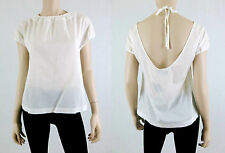 NWT $89 CLUB MONACO Halter Top Shirt Cap Sleeve Open Back 100% Cotton White S