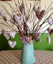 Shabby Chic/Vintage Hanging Hearts X6 Handmade Twig Tree Dec Brown/white/natural