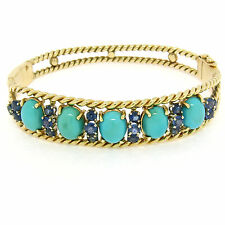 Vintage 14K Yellow Gold Sapphire & Turquoise Twisted Wire Open Bangle Bracelet