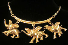 "Unique Vintage 20x1-1/2"" Signed ART Gold Tone Elephant Charm Dangle Necklace A45"