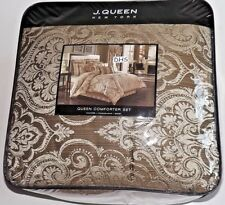 J QUEEN Stafford 4PC Queen Comforter Shams Bedskirt Set New Damask Mocha Honey