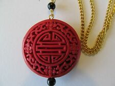 ASIAN RED CARVED CINNABAR [SHOU-LONGEVITY] LACQUER w/BLACK BEAD PENDANT NECKLACE
