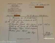 FACTURE Septembre 1972 Jean Claude CARLES Propriétaire Viticulteur CHATEAU PANET