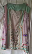 Antique Chinese Qing Dynasty Embroidered Blue Green Pink Purple Silk Panel Skirt