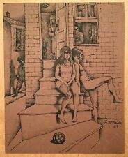 Francisco McBride Original Pen and Ink Drawing New Orleans 1969 Street Life