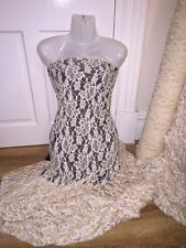 """1 MTR NUDE/IVORY FLORAL 4 WAY LYCRA STRETCH LACE FABRIC..60"""" WIDE £4.99"""