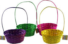 Set Of 4 Easter Egg Hunt Wicker Baskets - Green Pink Purple Yellow