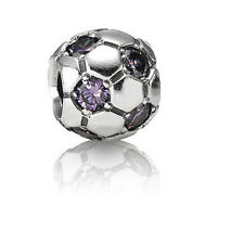 Genuine Pandora Silver Purple CZ Soccer Ball Football Charm Bead 790444ACZ