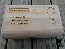 Personalised Engraved Wooden Treasure Chest Christmas Eve Treats Box 35cm stamp