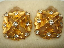 BOUCLE D'OREILLE STRASS BLANC CLIPS 2 CM VINTAGE 50 NEUVE/OLD NEW STOCK EARRINGS