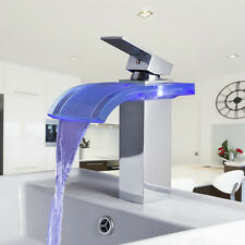 LED Bathroom Sink Faucet Waterfall Glass Chrome One Hole/Handle Tap Discount