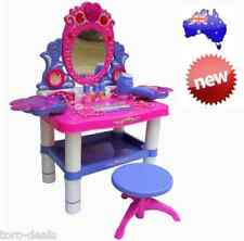 New Girls Makeup Desk Vanity Mirrored Table Beauty Play Toy Set MusicLight