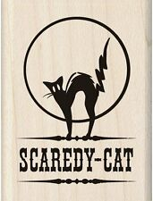 Rubber Stamp Halloween Scaredy Cat Rescue Pet Mission 1.5x2 Witch Familiar Black